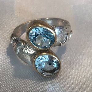Double Genuine Blue Topaz Sterling Silver Ring